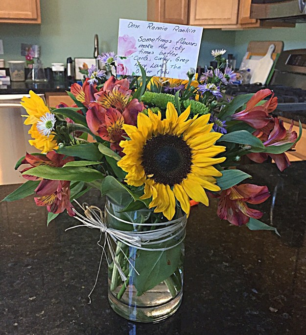 Beautiful flowers from my beautiful MS family...because they love me and wanted to make me smile, which they did.
