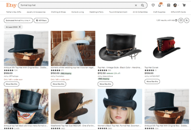 screenshot of etsy search for formal top hats