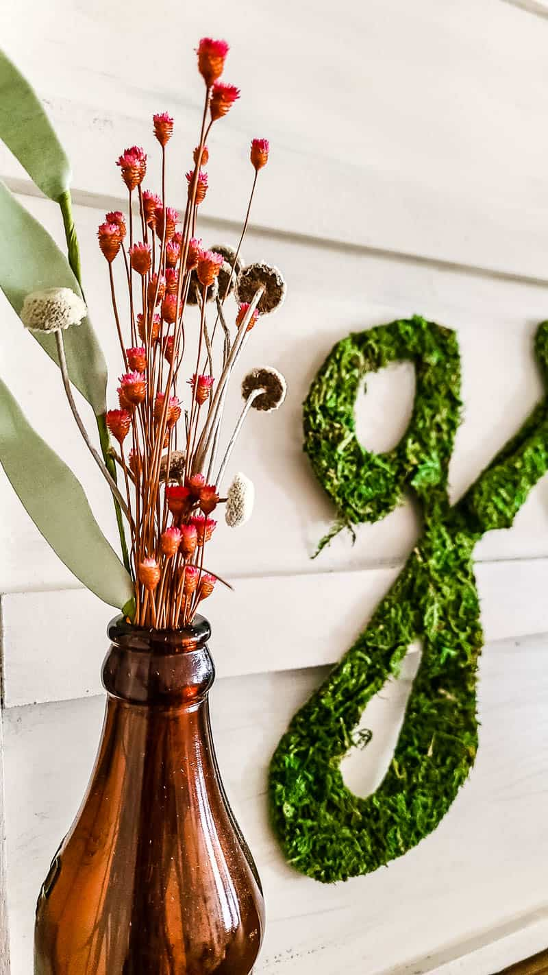 letters cut out from sheet moss and attached to white sign for creative boho style spring decor