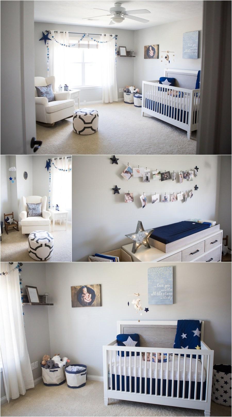 navy blue nursery ideas - star themed