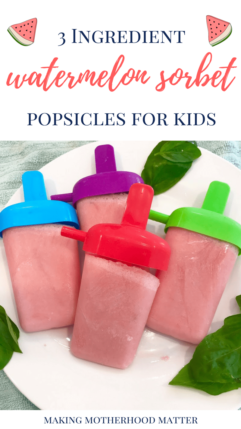 watermelon sorbet popsicle dessert for kids
