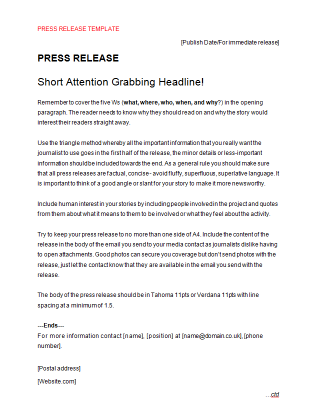 Press Release Template Making Music