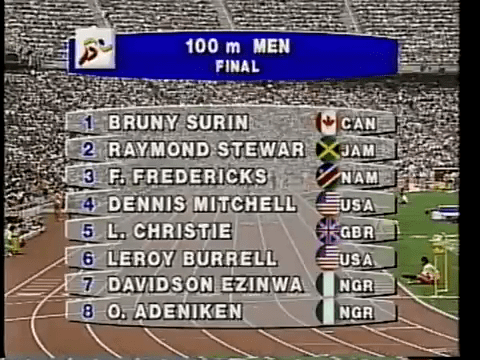 Line-up for 100m Final at Barcelona '92