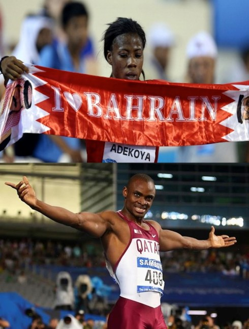 Adekoya sets a PB of 54.59s to win the 2014 Doha Diamond League 400mH &  Ogunode after setting a new Asian Games Record (9.93s). (Photo Credits: Getty Images)