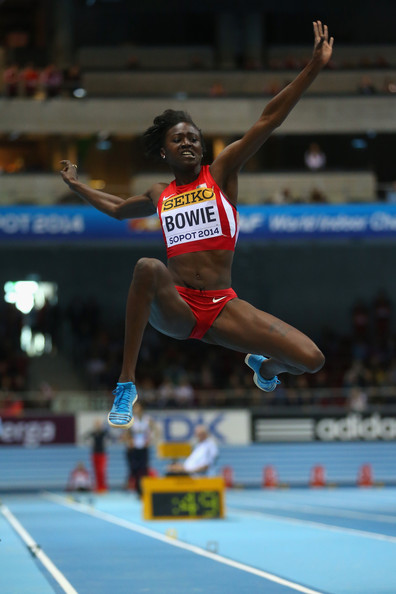 Tori Bowie competing in the Long Jump at the 2014 IAAF World Indoor Championships in Sopot, Poland. (Photo credit: Julian Finney/Getty Images Europe)