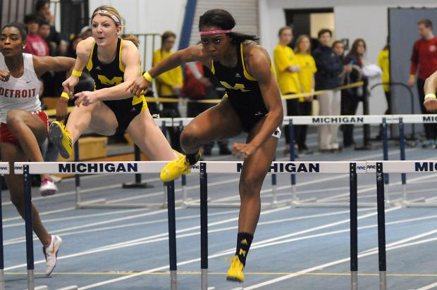 Ofili competes at the 2014 NCAA Indoor Track and Field Championships. (Photo Credit: Ryan Reiss/Michigan Daily)