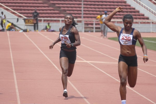 Olubukola Alagbe (Right) coasted to victory in the women's 100m, 200m and 4x100m relay.