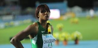 Okagbare before the 4x200m final where Nigeria won GOLD