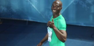Obikwelu after racing in the Heats of the World Relays 4x100m