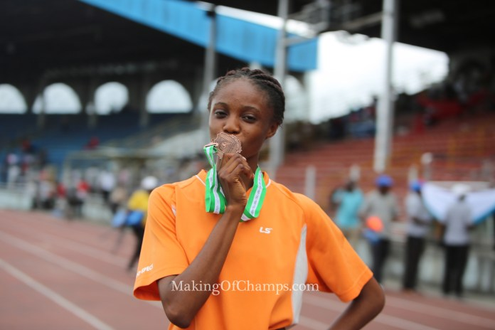 17-year old Ruth Usoro took Bronze in the women's Long Jump.