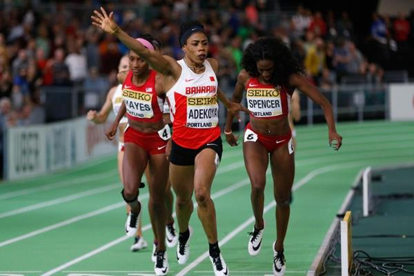 Kemi Adekoya wins the 400m for Bahrain at the World Indoor Championships. (Photo Credit: iaaf.org)