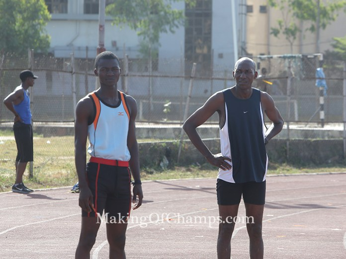 Head Coach of esteem Athletics Club Adu Uruemu (right) ran in memory of his late athlete.