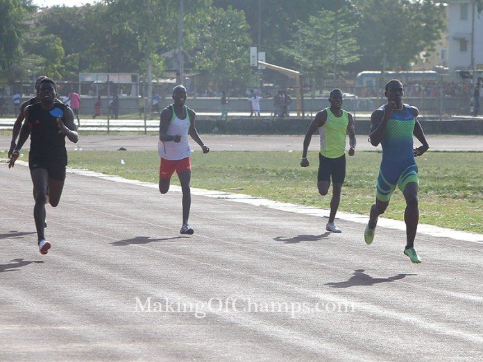 Some competitors in the men's 400m.