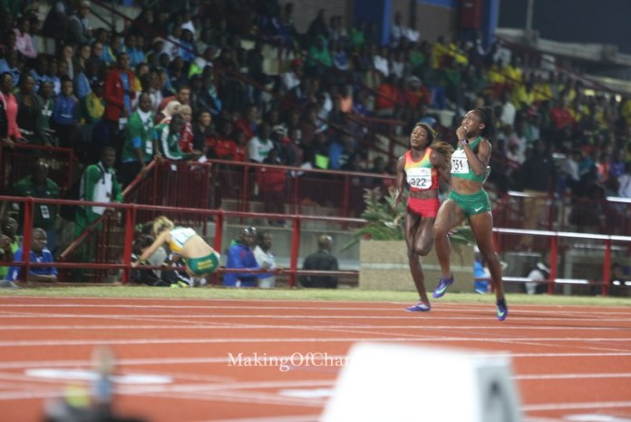 Uhunoma Osazuwa racing through to the finish line in the 200m-Heptathlon.