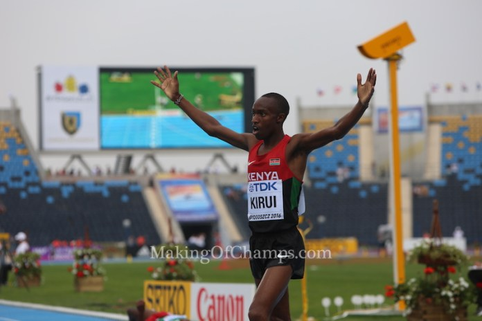 Amos Kirui raising both hands after clinching GOLD for Kenya in Men's 3000m Steeplechase. Photo Credit: Making of Champions / PaV media