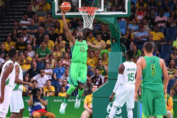 Nene led with a game high 19 points and was instrumental in Brazil beat Nigeria. Photo Credit: @FIBA