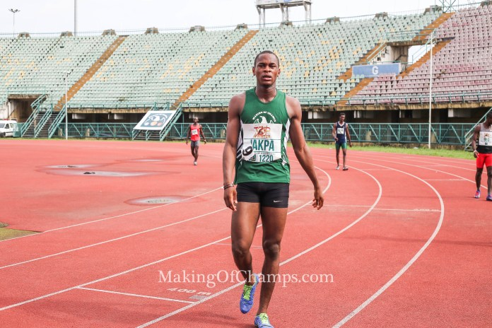 Jakpa will hope to replicate the same feat in the 200m.