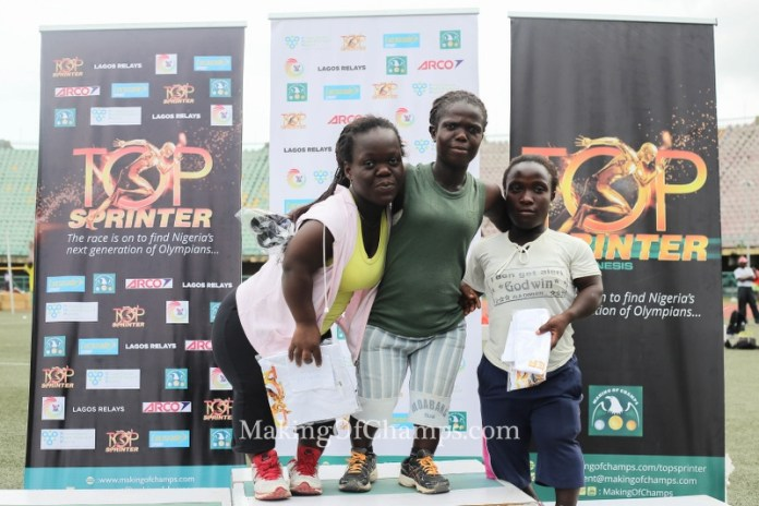 Deborah Agege (Centre), Abigeal Menu (Left) and Bolanle Ojo (Right) finished on the podium in the women's F40 Shot put Para-Athletics event.
