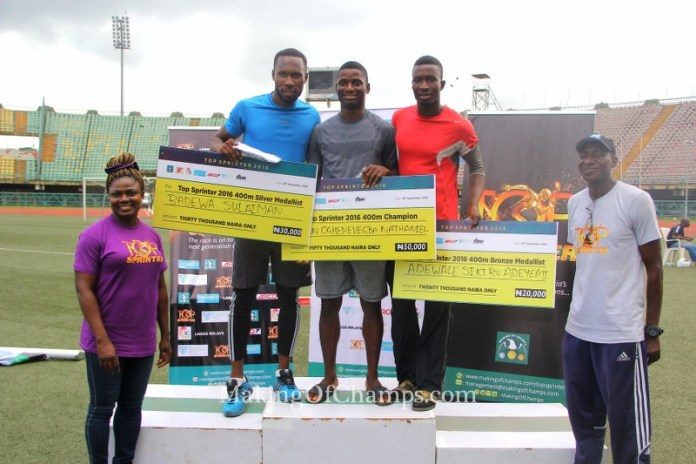 The Top 3 performers in the men's 400m are flanked by African Record holder in the 100m Hurdles Glory Alozie, and Athletics Coach Uruemu Adu.