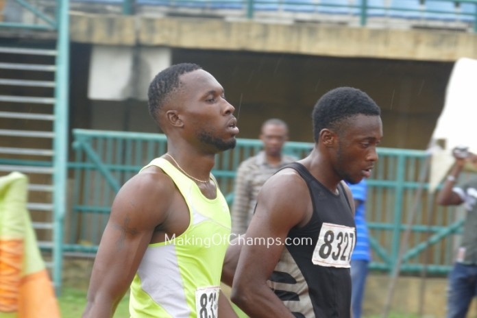 Badewo and Obute after their 100m A final at the Eko Athletics Grand Prix