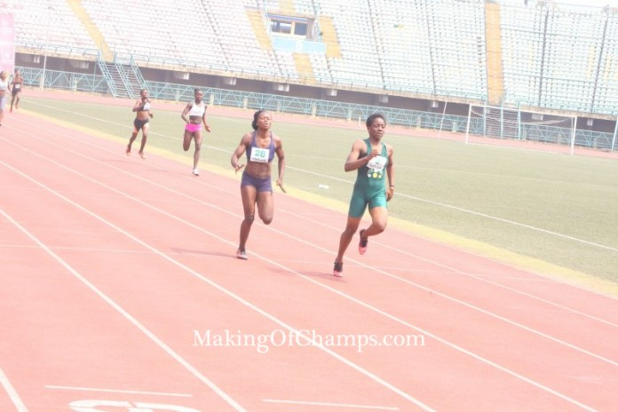 Udo-Gabriel recovered from a losing position to win her 300m race