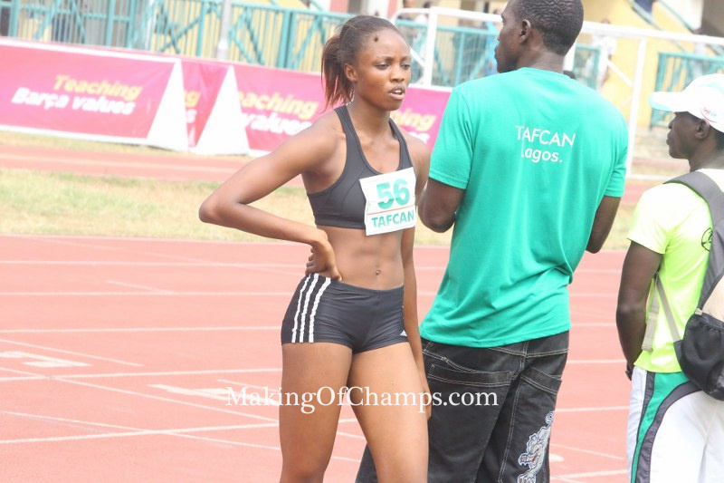 Usoro walking off the track after running the fastest time in all women's 300m.