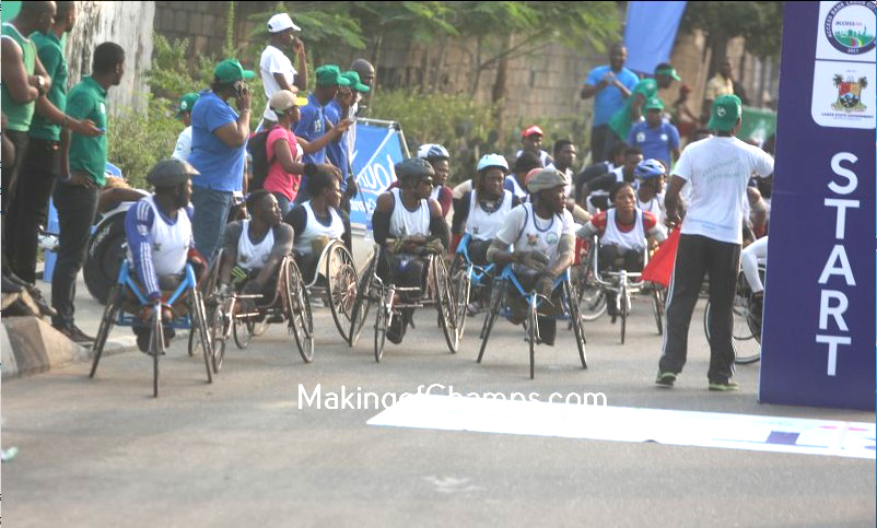 The special athletes at the starting line of the 10km Wheelchair race.