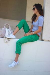 colored jeans and sneakers