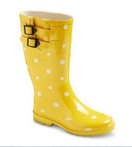 Yellow polka dot rain boots