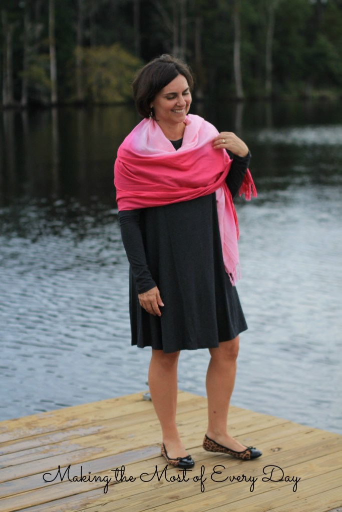 pink scarf marked