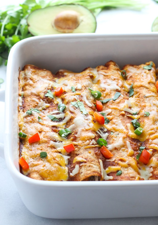 Sweet Potato Black Bean Spinach Enchiladas