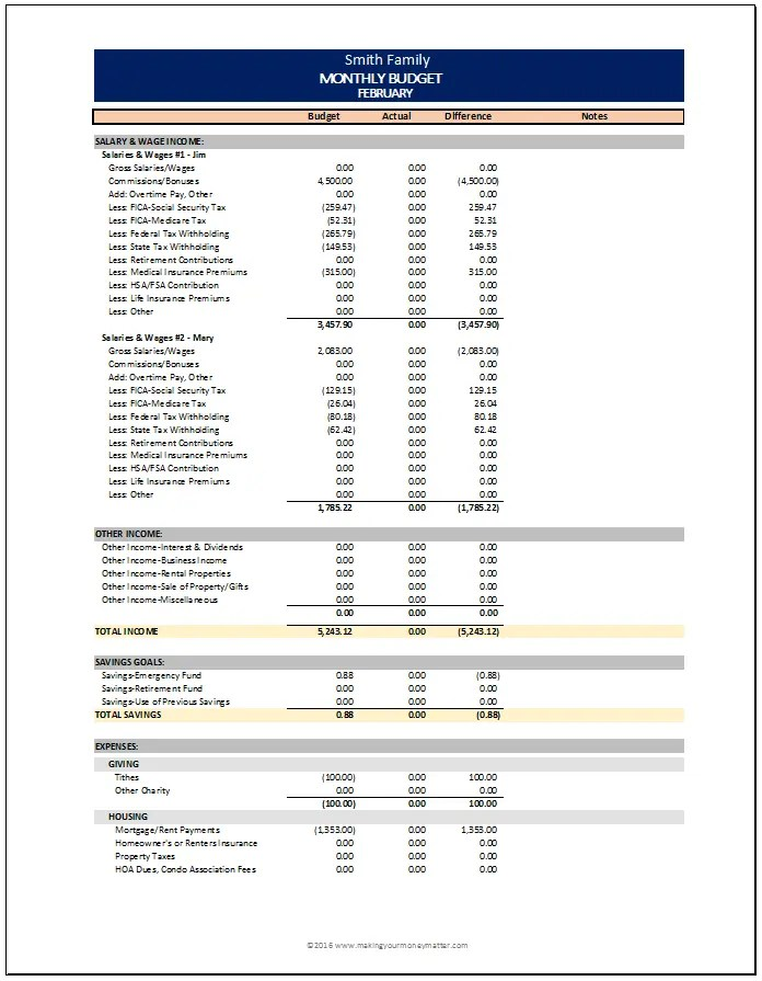 Smith Family Example - Monthly budget spreadsheet from Making Your Money Matter.