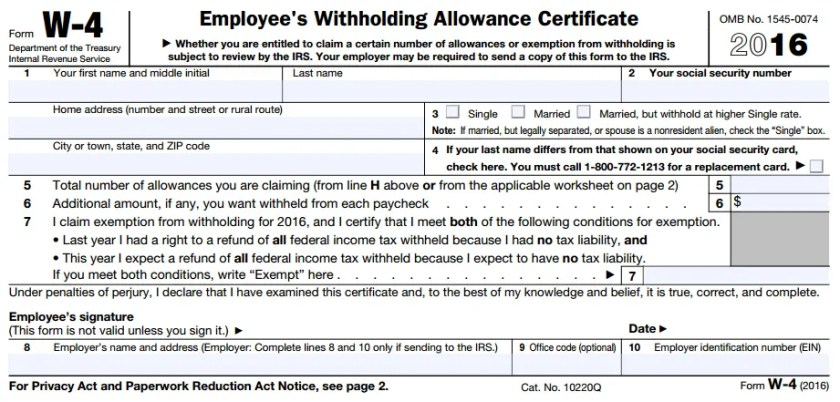 Example of W-4 Form (Employee's Withholding Allowance Certificate)