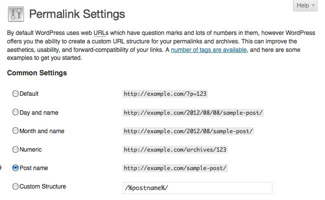 Image of Permalink Settings on WordPress website.  Adjust your permalink settings to include your post name.