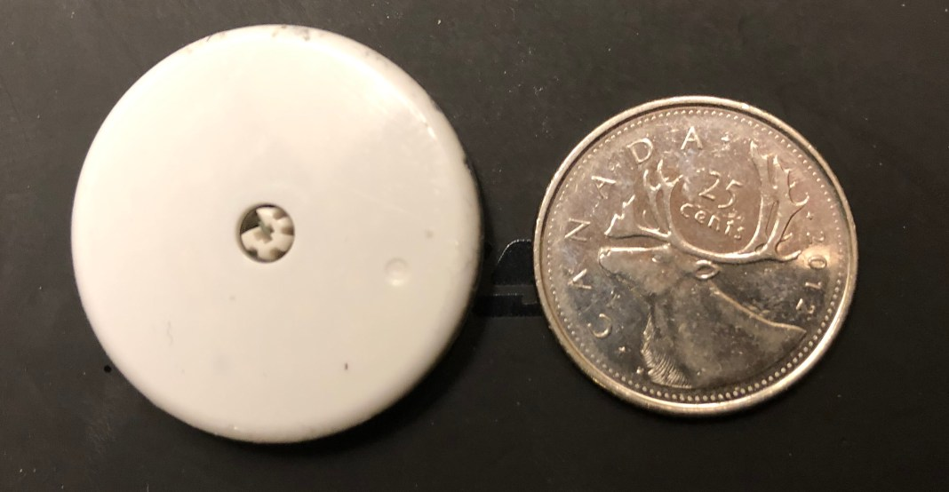 Freestyle Libre is about the size of a quarter.