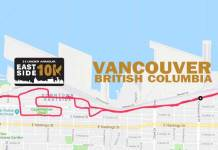 Route and logo for Under Armour Eastside 10K in Vancouver.