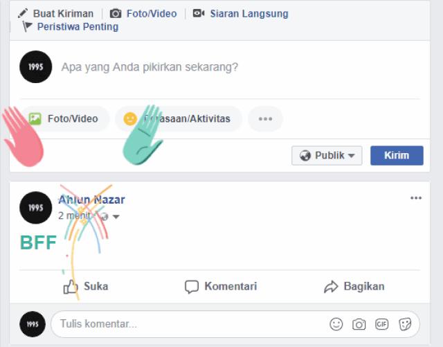 Fitur Rahasia Facebook Membuat Tulisan Berwarna dengan Efek Animasi