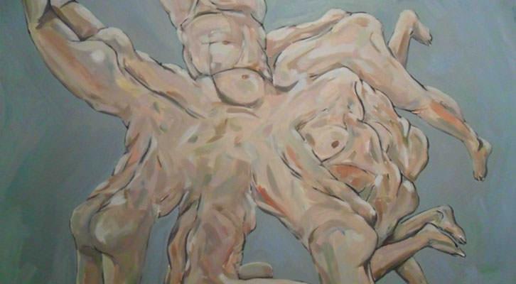 Obra de Javier Marisco en la exposición 'A los postres un cadáver y otras nimiedades'. Aula de Cultura La Llotgeta.