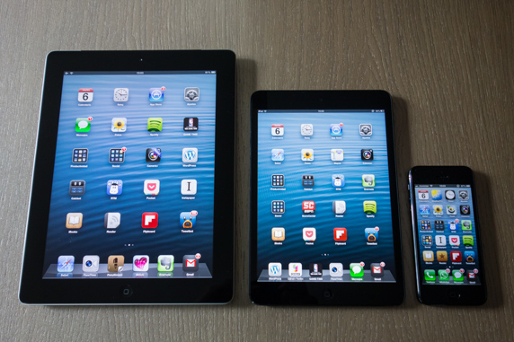 Comparción tamaño iPad, iPad mini y iPhone 5