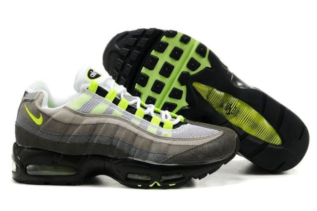 Womens Nike Air Max 95 Cool Gray Neon Running Shoes