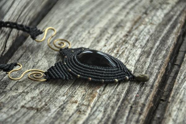Comprar collar de macrame con obsidiana