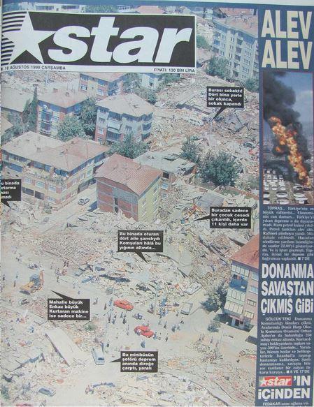 Star-gazetesi-17-agustos-1999 17 Ağustos 1999 Depreminin ertesi günü atılan manşetler