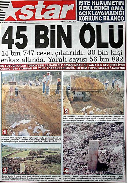 Star-gazetesi-21-agustos-1999 17 Ağustos 1999 Depreminin ertesi günü atılan manşetler
