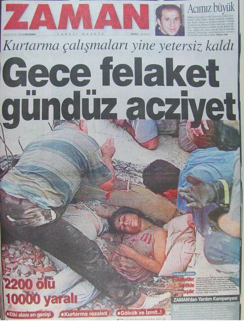 Zaman-gazetesi-17-agustos-1999 17 Ağustos 1999 Depreminin ertesi günü atılan manşetler