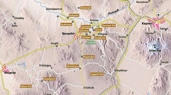 kapadokya-gezi-haritasi Kapadokya'da Gezilecek En Güzel 10 Yer