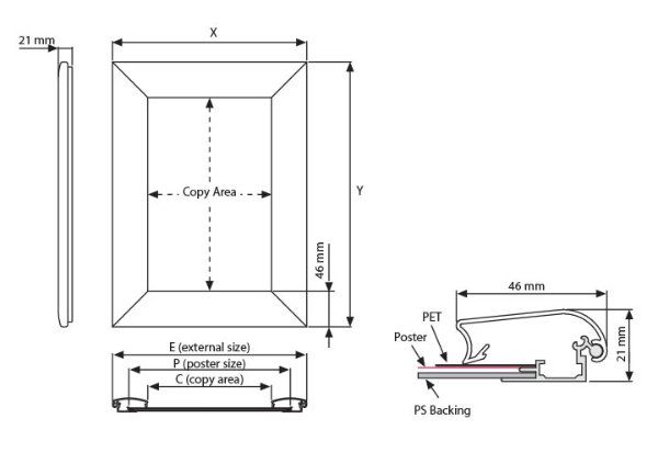 46mm Alüminyum Çerçeve Teknik Grafik