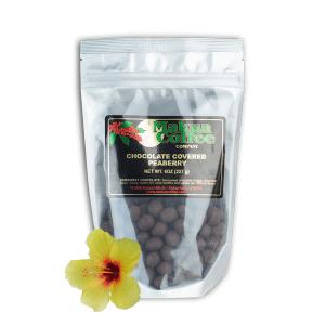 Makua Coffee Company Chocolate Coffee Beans - Semi Sweet covered peaberry beans 8 oz bag