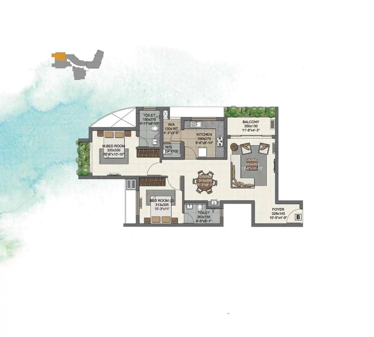 UNIT B (2 BHK) 1ST - 4TH FLOORS