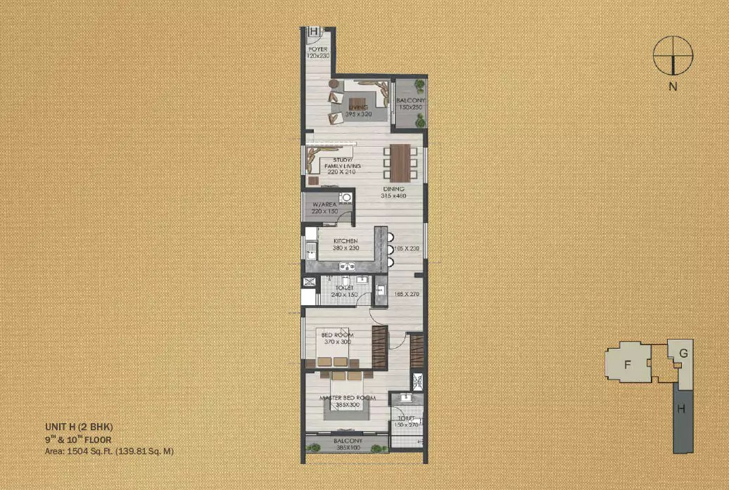 Unit H 2BHK (9th and 10th)