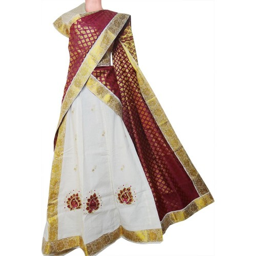 Purchase Kerala Kasavu Half Saree Davani Set Online